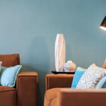 Peinture intérieure et décoration - Roquebrune sur Argens - murs bleus et blanc et canapé marron -